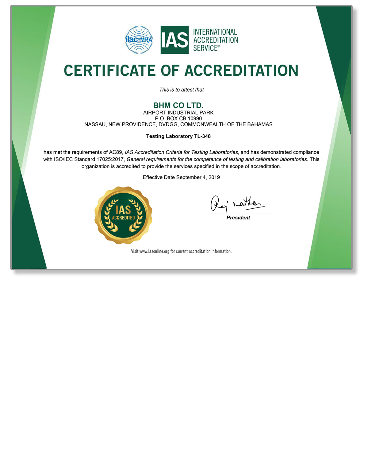BHM Accreditation ISO17025