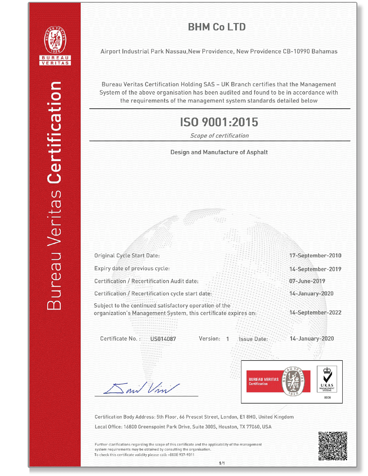 BHM Accreditation ISO9001