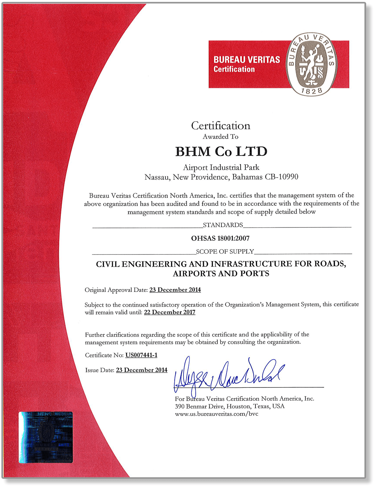 BHM Accreditation ISO18001